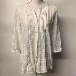 Pleione White Plaid Pin Tuck Pleated Button Shirt